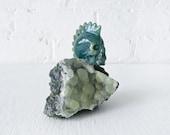 10% SALE - Chief Jasper- Ocean Jasper Crystal Carved Skull on Prehnite Crystal Cluster
