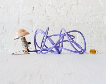 Little Miss Tinker Pink - Industrial Night Light Clip with Lavender Color Cord OOAK