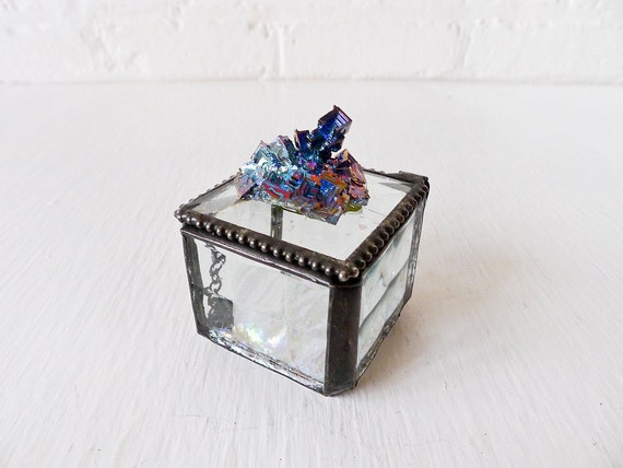 10% SALE - Beveled Glass Jewelry Box with Rainbow Bismuth Gem on Top