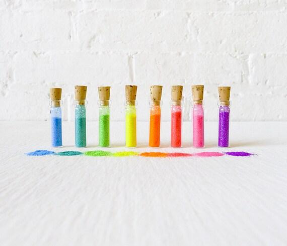 Micro Day Glo Krystal Kandy -  8 Mini Vials of Neon Rainbow Glitter