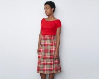 NOS Vintage Pleated RED Beige Black plaid Skirt size S