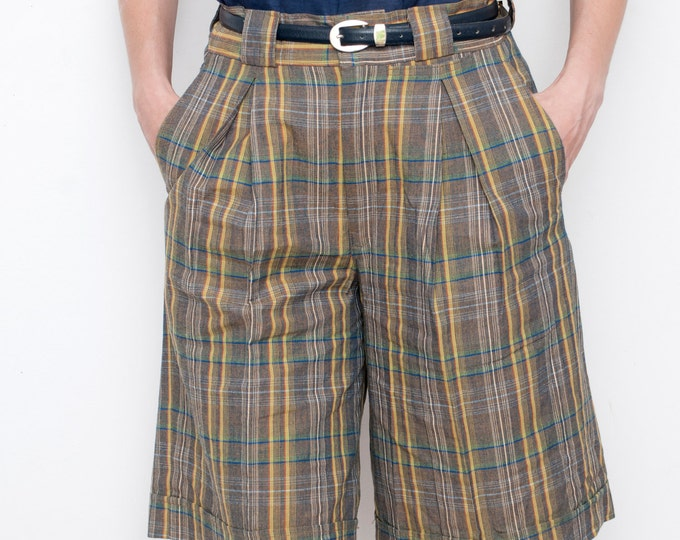 NOS Vintage 80s Brown Blue mustard Plaid Shorts size S or M