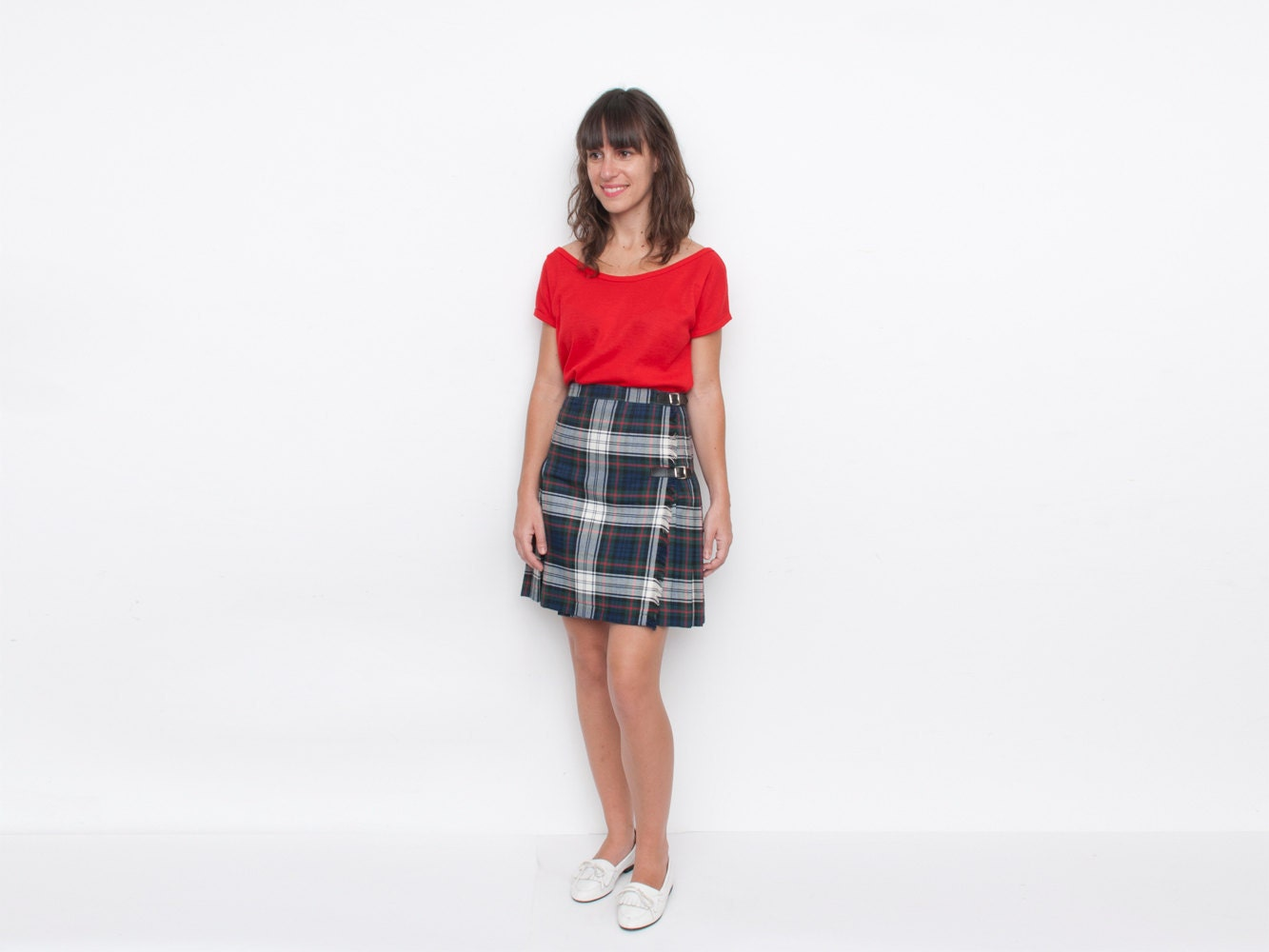 nos vintage pleated plaid mini skirt size s