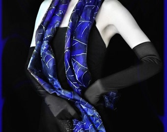Silk scarf - blue and silvery spider web - steampunk fashion