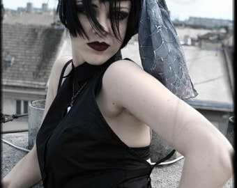 Emo style - dark silk scarf - victorian steampunk fashion