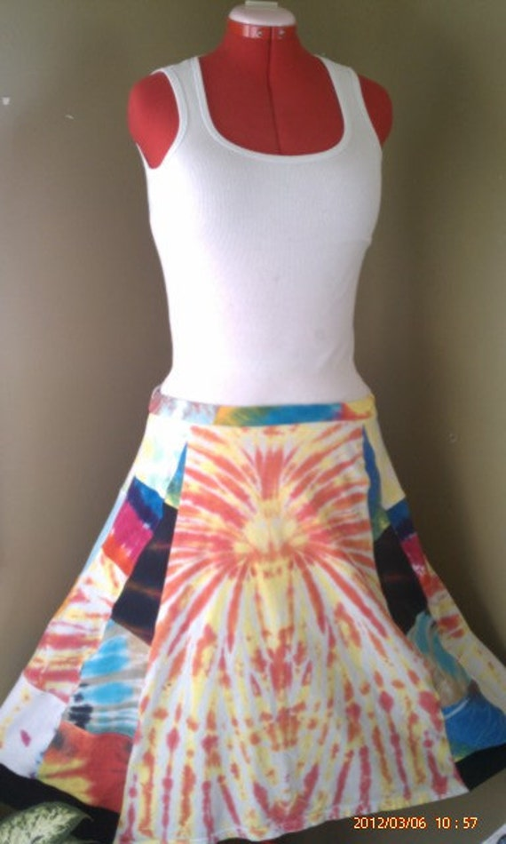 30 % OFF Patchwork Hippie Upcycled Tie Dye Music Festival T Shirt Skirt  XS-XL