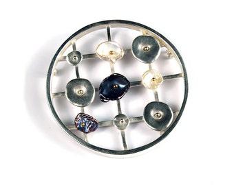 Sterling Circle Pin/Pendant with Keshi Pearls