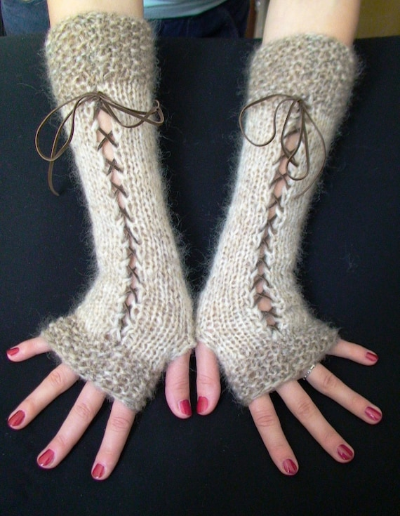 Fingerless Gloves Corset Wrist Warmers  in Natural Beige and Light Brown/ Taupe with Suede Ribbons Victorian Style