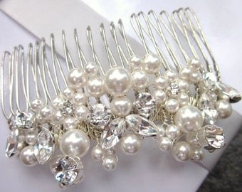 Vintage bridal comb head piece, pearl and rhinestone clusters - 'Starlet'