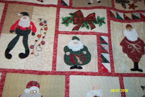 Christmas Santa Quilt - Full Size - Red, Green, Navy, Tan