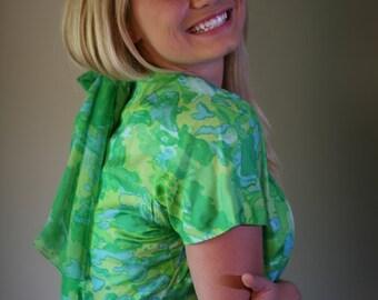 Vintage 60s Silk Watercolor Sheath Dress, Med-Large