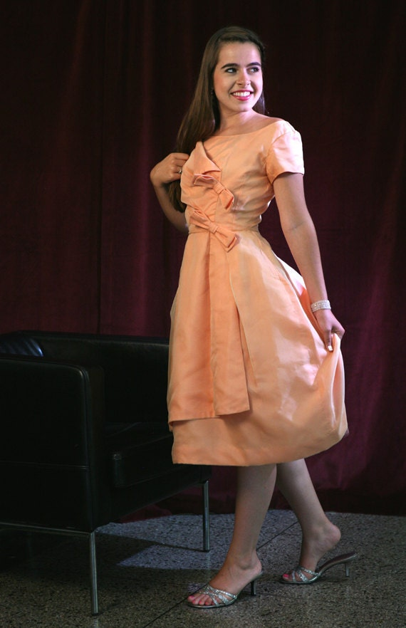 Vintage 50s 60s Emma Domb Dress, Mad Men Peach Party Dress with Amazing Details XS-S