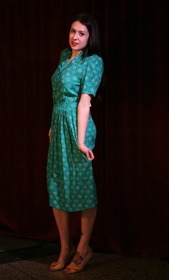 Vintage 80s Green Dress: 80s Does 40s NOS Deadstock Dress by Karin Stevens