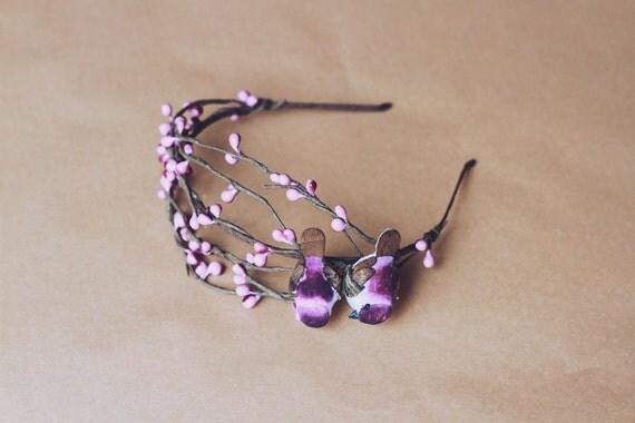 love birds headband (purple) // woodland collection