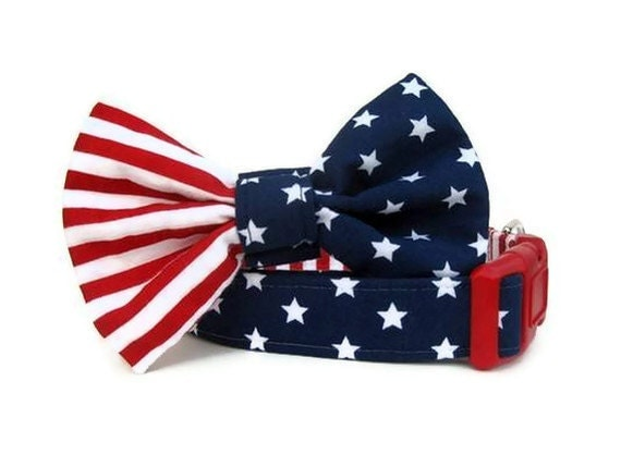 4th of July Bow Tie Dog Collar - Uncle Sam - Red White and Blue