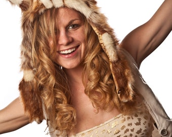 Faux Fur Flying Squirrel Half Hat