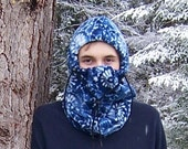 Blue And White Snowflake Alpine Print Adult Fleece Balaclava Hat For Women Or Men