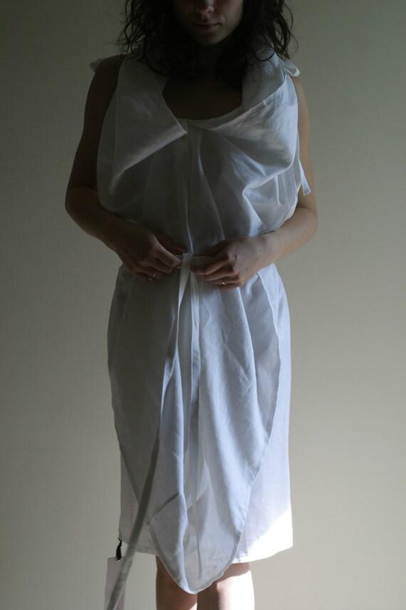 Minimalist Wedding Dress/ White Linen Dress by NervousWardrobe on Etsy