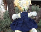 Teddy  bear hand made rosie bear collection cotton fabric 15 inch bear