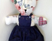 Teddy bear with heart hand made Rosie bear collection cotton fabric 15 inch bear