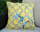 Couch sofa cushion cover simply classic  blue and yellow origami flowers