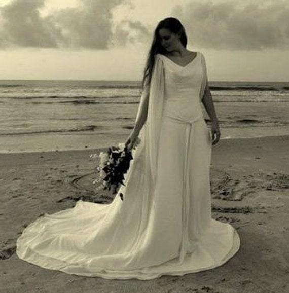 Celtic wedding dress with chiffon long by weddingdressfantasy for Celtic pagan wedding dresses