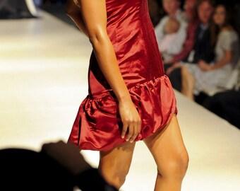 Free Ship Sample Size 6 8 Red Dress Cocktail Dress Party Dress Short Prom Dress: Feather, Drop Waist, Bubble Hem, Open Keyhole Back