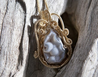 Ready to Ship - Sprakling Natural Brown Druzy Agate Necklace Pendant - 12k Yellow Gold-filled necklace, 16 inch curb chain, Special Occasion