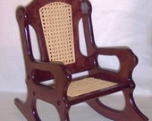 Wooden Rocking Chair - Mahogany and Cane