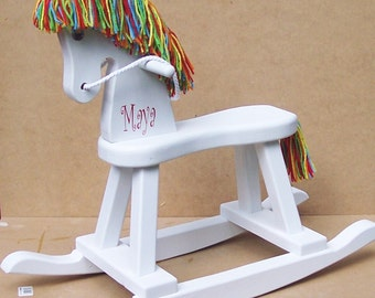 Wood Rocking Horse - hand painted: - Rainbow Brite
