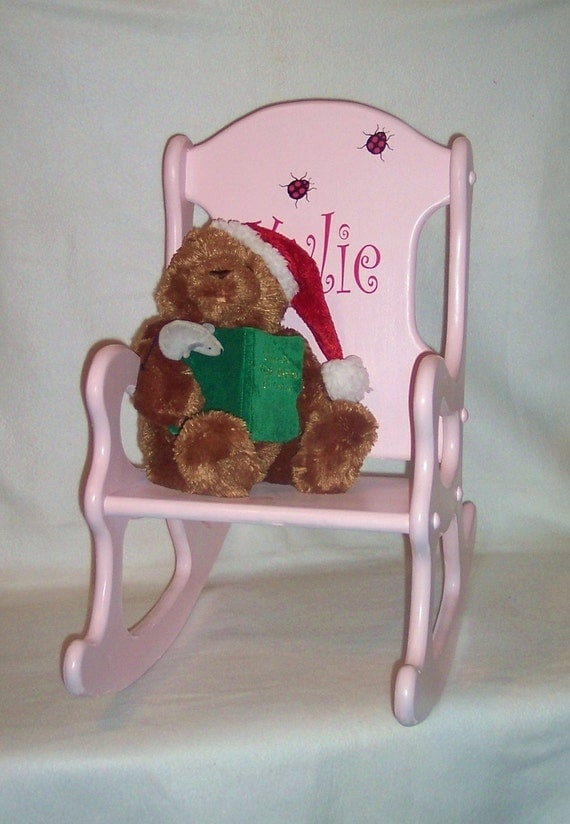 Personalized kids rocking chair pink with ladybugs for Monogrammed kids chair