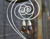 Silver Spiral Earrings with Smoky Quartz Dangles. Jewelry by FullSpiral on Etsy.