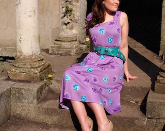 Viola, French Vintage Purple and White Polka Dot Floral Dress with Ruched Shoulders from Paris