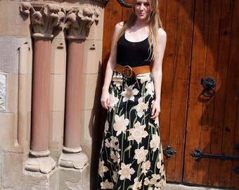 Daphne, French Vintage, Black Floral Daffodil Print Long Maxi Skirt from Paris