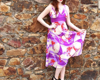 Valerie, French Vintage, Purple Floral Midi Dress with Cross Back, from Paris