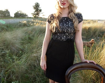 Noeme, Stunning French Vintage, 1950s Black Antique Lace Evening Wiggle Dress from Paris