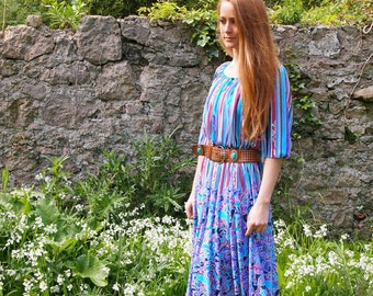 Kathrine, French Vintage, 1970s Striped Floral Midi Dress, from Paris