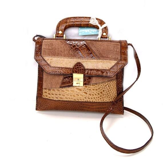 Perrine, French Vintage, Tan Leather Snakeskin Satchel, 1960s Messenger Handbag from Paris