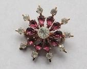 Vintage Snowflake Brooch, Pink/Mauve and Clear Rhinestones, 1950s, Gold-Tone Metal