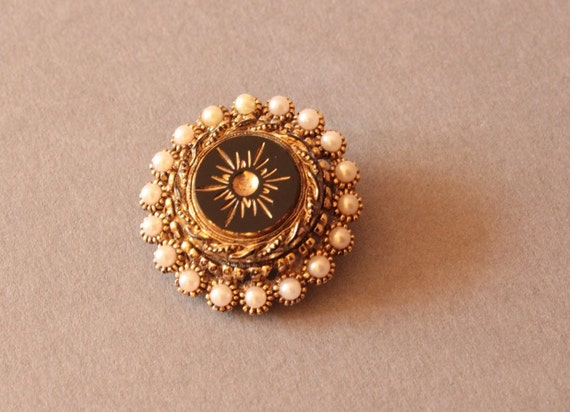 Vintage Victorian Revival Mourning Brooch, 1950s Jewelry
