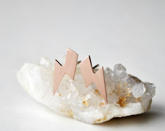 Rose Gold Lightning Bolt Stud Earrings 14k solid rose gold
