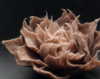 Antiqued Rose Felt Flower Brooch Handmade to Order