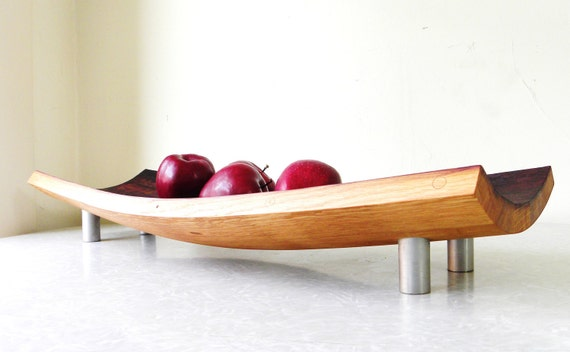 mid century modern serving bowl platter. repurposed wine barrel. eco friendly gift. French oak serving tray