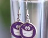 Purple Smiley Face Enamel Charm Earrings - Happy Face Earrings - kids dress up earrings