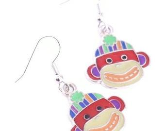 Red Sock Monkey Earrings - Enamel Charms - Kids Earrings fun for everyone - Cyber Monday Sale
