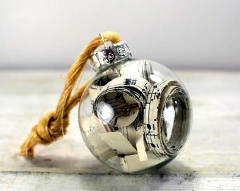Vintage Sheet Music Ornaments Set of Six Glass Balls Medium Size