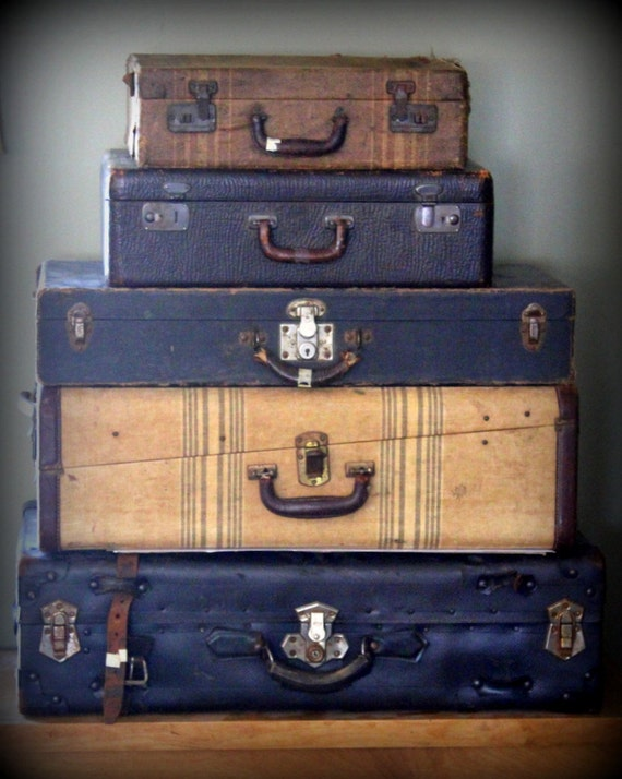 Vintage Black Suitcase Extra Large