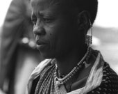 Tribal Photography, Masai, Mother, Ethnic, Feminine, Elder, Tanzania, Black and White Fine Art Photography, 8x10