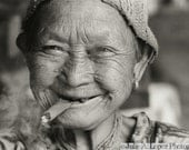 Travel Photography, Smile, Joy, Funny, Thailand, Smoking, Cigar Lady, Hill Tribe Elder, Ethnic, Black and White Fine Art Photography, 8x10