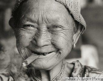 Travel Photography, Smile, Joy, Funny, Thailand, Smoking, Cigar Lady, Hill Tribe Elder, Ethnic,  Black and White Fine Art Photography, 11x14